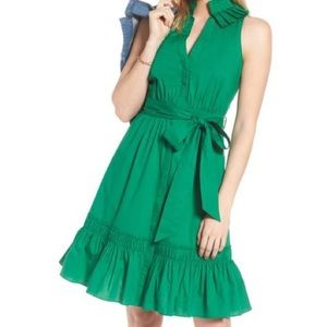1901 Pleated Collar Shirtdress in Kelly Green